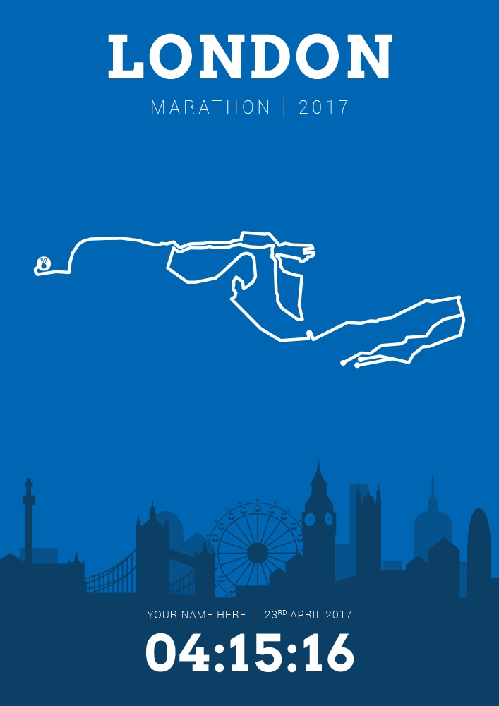 Map Of New York Marathon 2017.Marathon Running Course Map Posters Personalised With Your Name