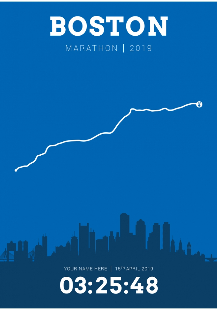 Boston USA Personalised Marathon Course Poster 2019